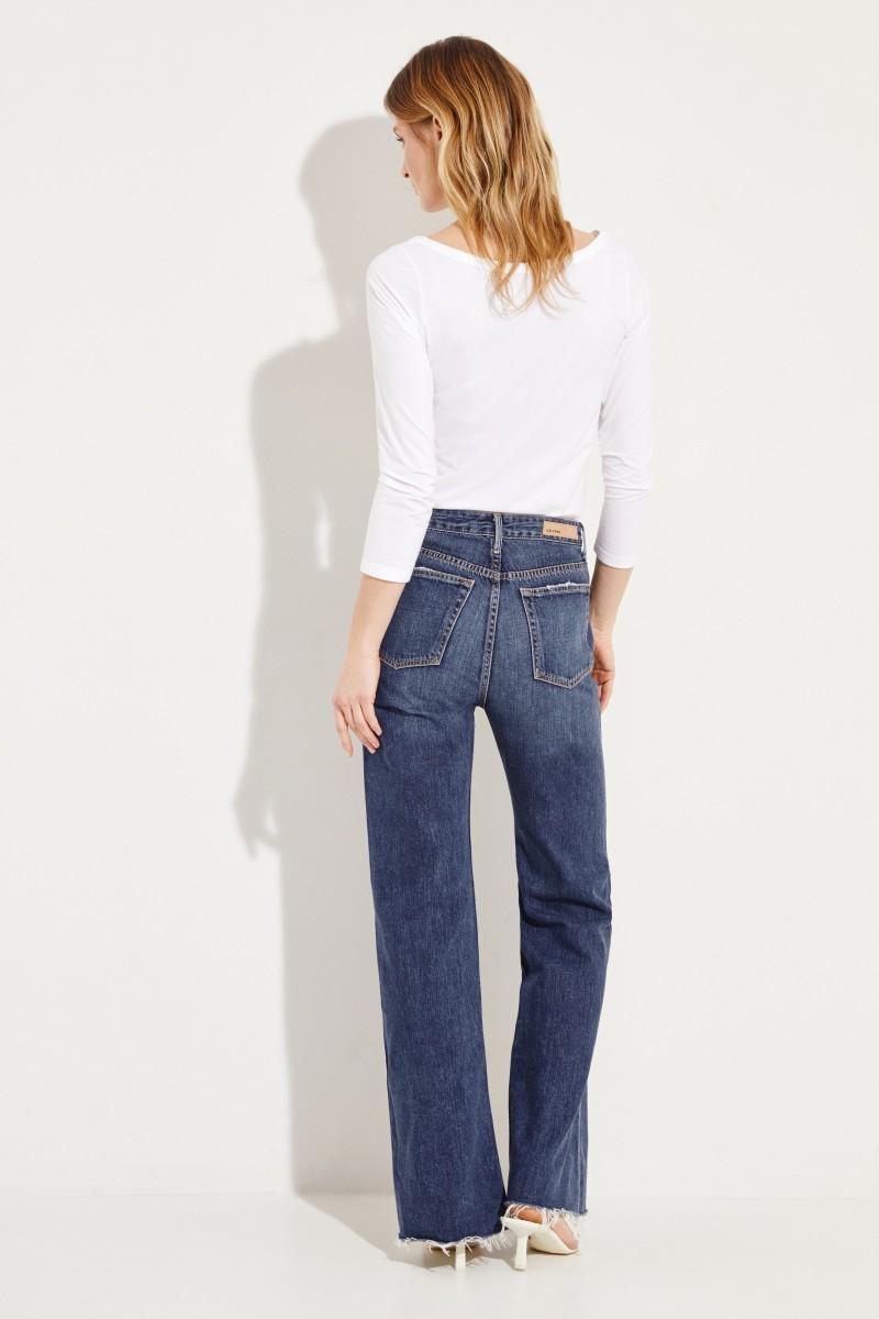 Jeans 'Carla' mit ausgestelltem Saum Blau