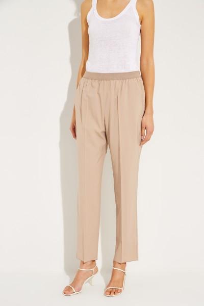 Wool pants with elastic waistband Beige