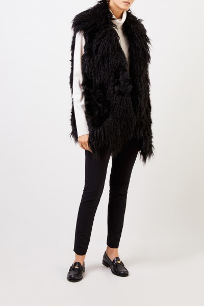 Longhair Faux For Vest Black