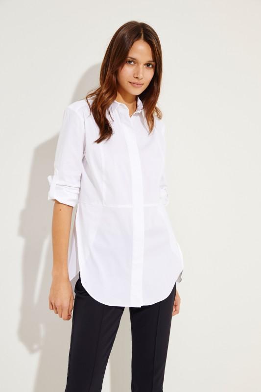 Bluse mit Ziernähten Weiß