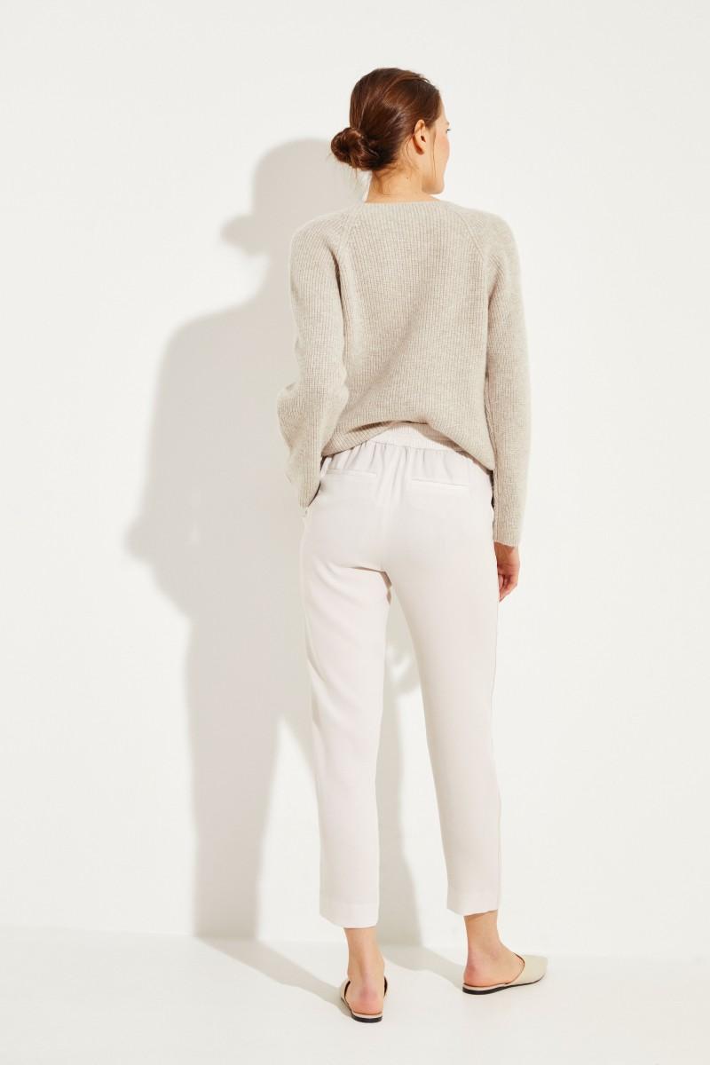 Hose mit seitlichen Streifen Beige