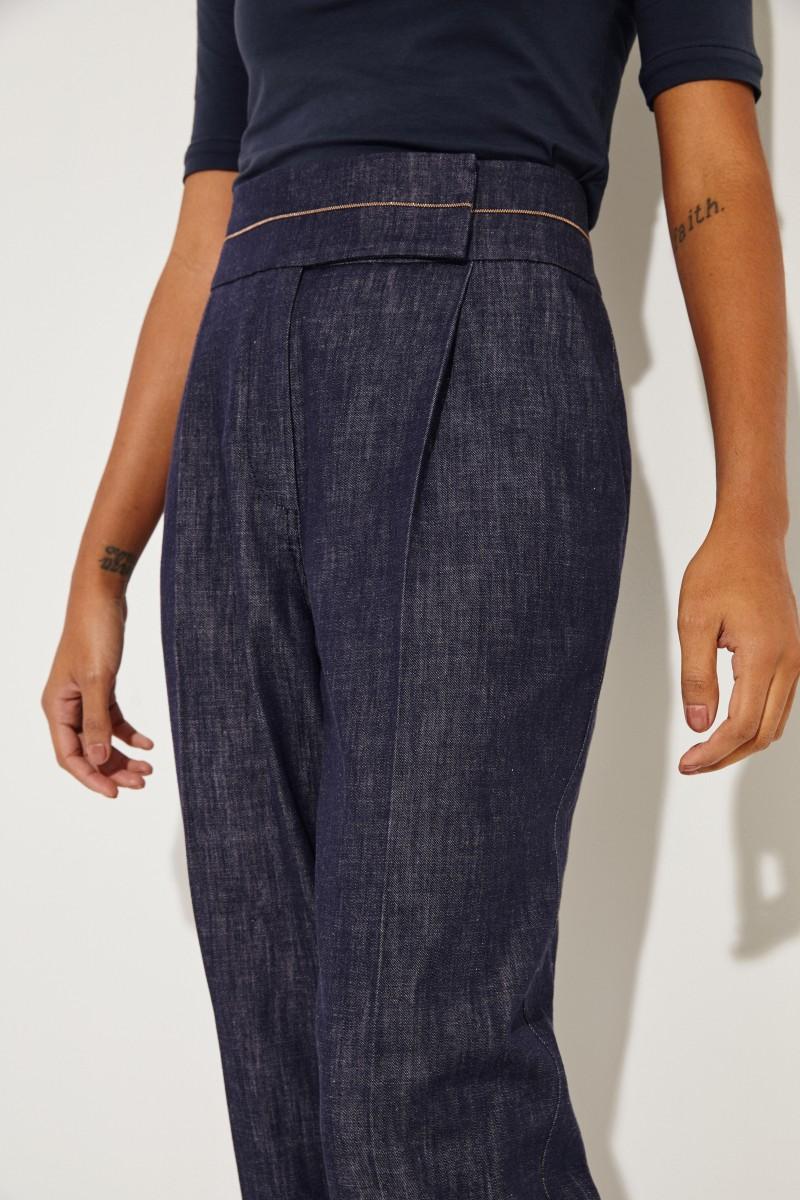 Bundfalten-Jeans mit Perlenverzierung Blau