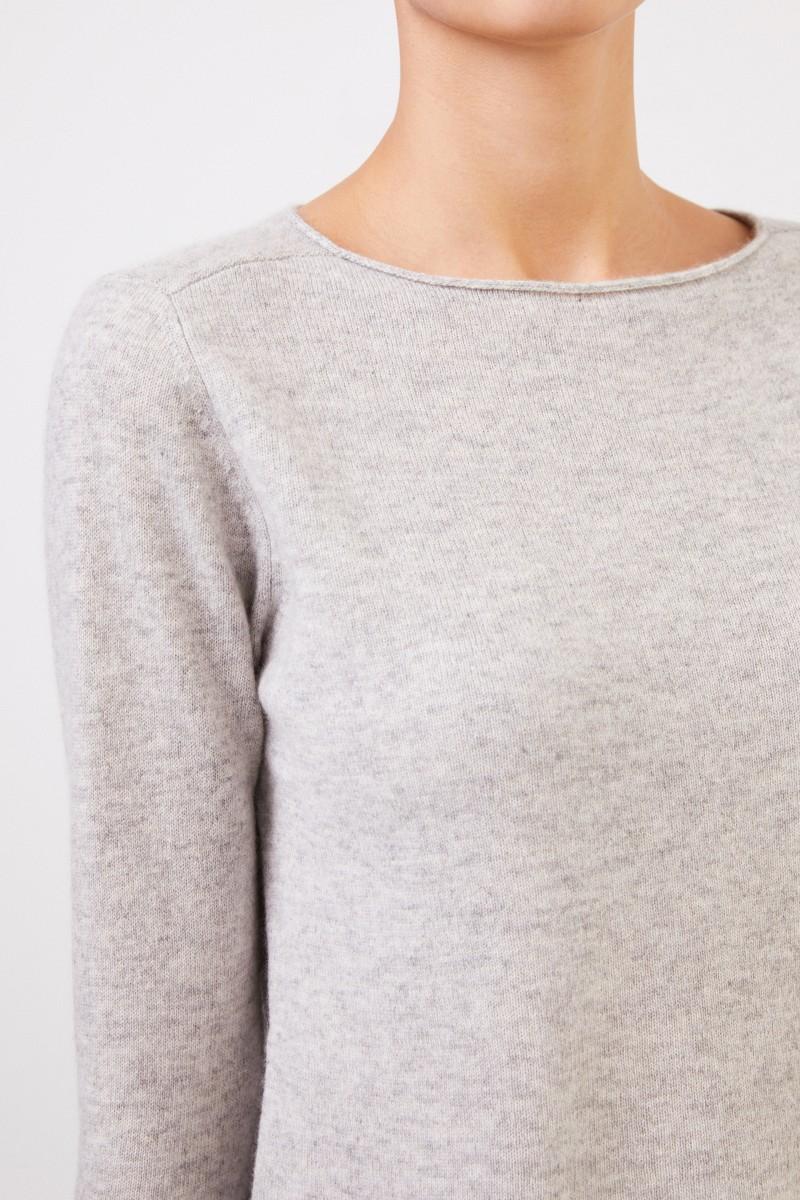Allude Cashmere-Pullover Hellgrau meliert