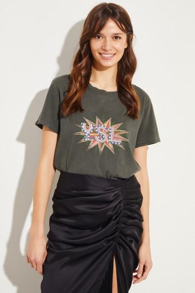 T-Shirt mit frontalem Logo-Detail Grau