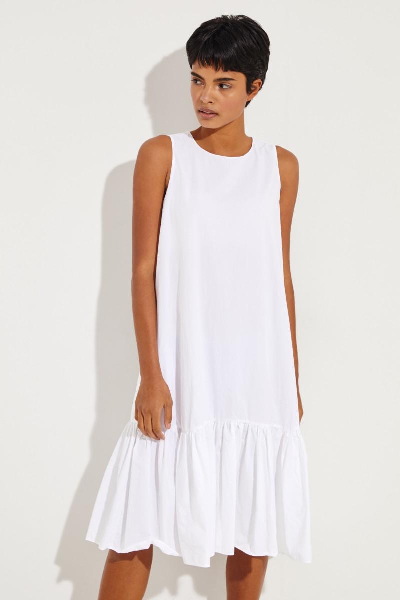 Baumwoll-Kleid 'Karen' mit Volant Weiß