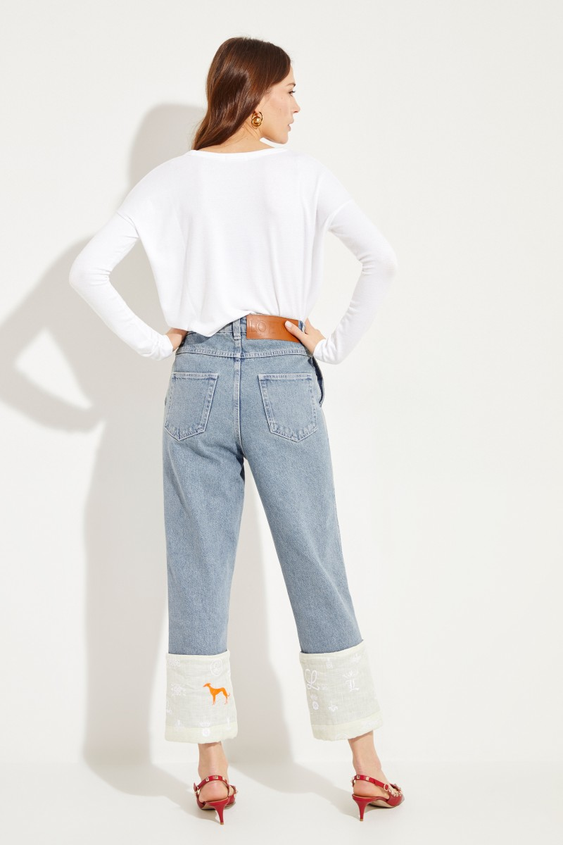 Jeans mit umgeschlagenen Säumen Blau