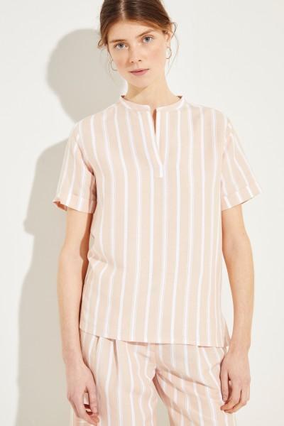 Striped linen shirt 'Bella' Rose/White