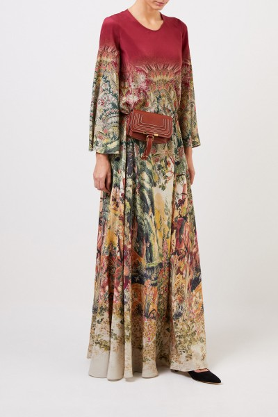 Long silk dress with print Multi
