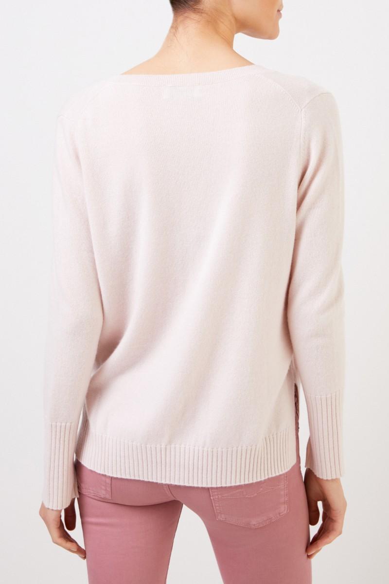 Allude V-Neck Cashmere-Pullover mit Schlitzen Rosé