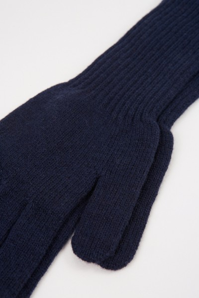 Uzwei Long wool cashmere gloves Navy Blue