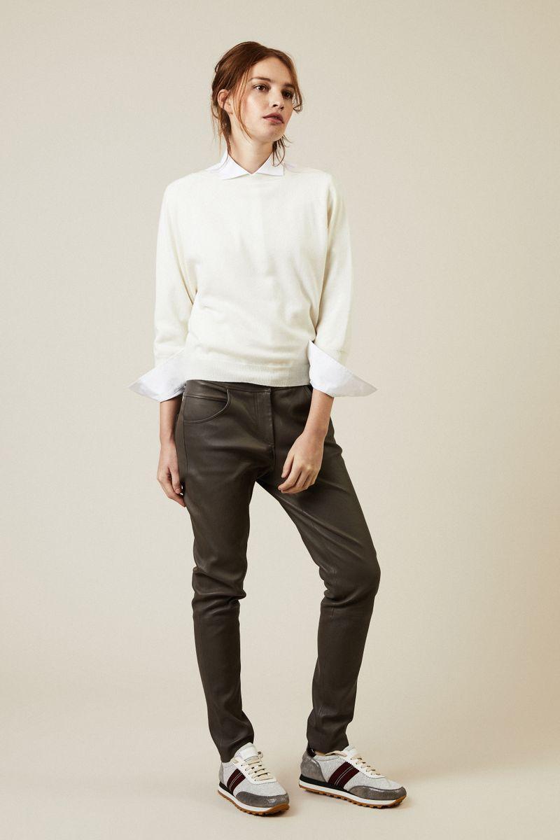 Cashmere-Pullover mit Rückenausschnitt Weiss