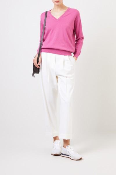 Cashmere-Pullover mit V-Neck Pink