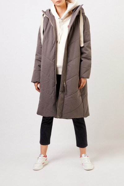 G-lab Coat 'Blossom' with hood Taupe-grey