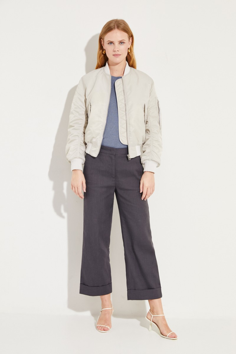 Kurzarm Seiden-Cashmere-Pullover Blau