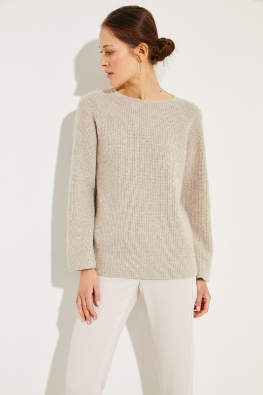 Cashmere-Seiden-Pullover Beige