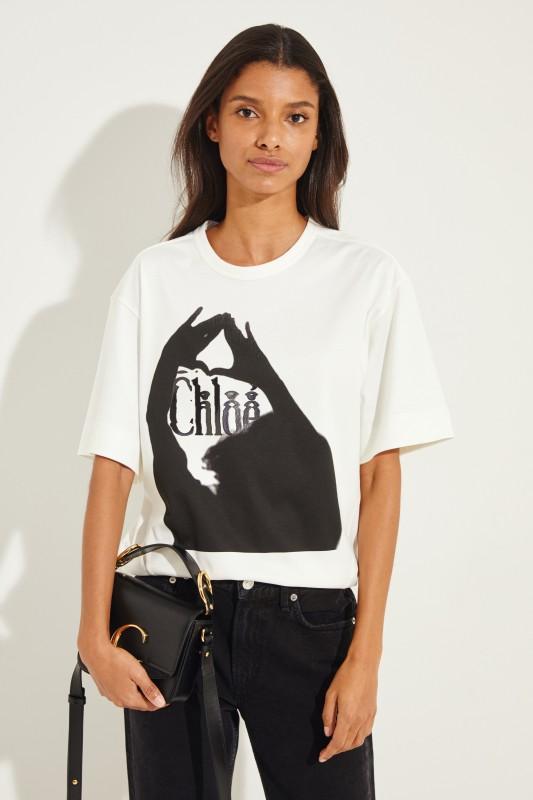 T-Shirt mit Print Crème