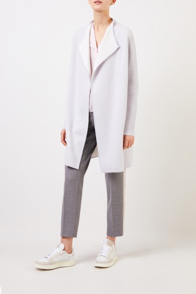 Bruno Manetti Cashmere coat with knit details Light blue