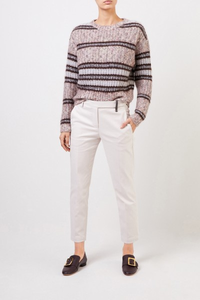 Trousers with pearl details Beige