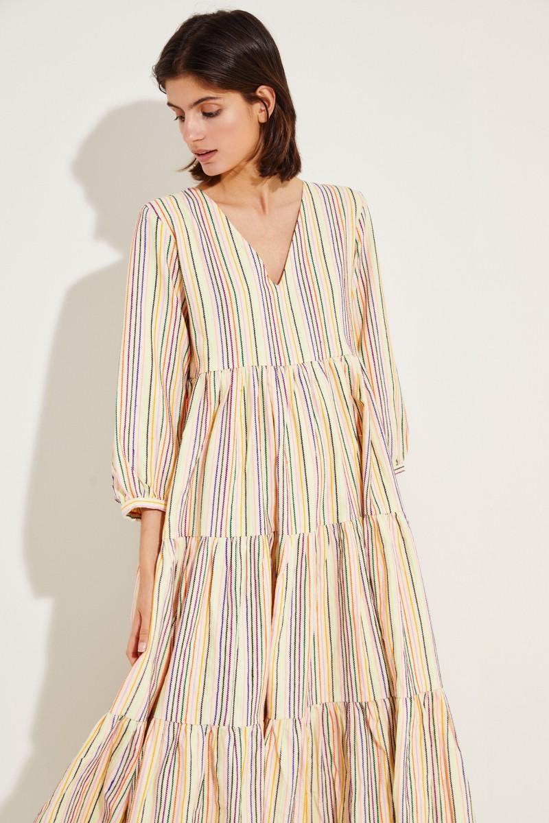 Maxi-Kleid mit Streifenmuster Crème/Multi