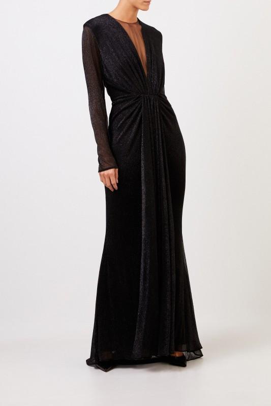 Talbot Runhof Langes Abendkleid mit Lurexdetails Schwarz