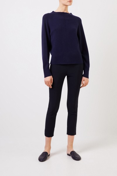 Stretch pants with slit detail Navy Blue