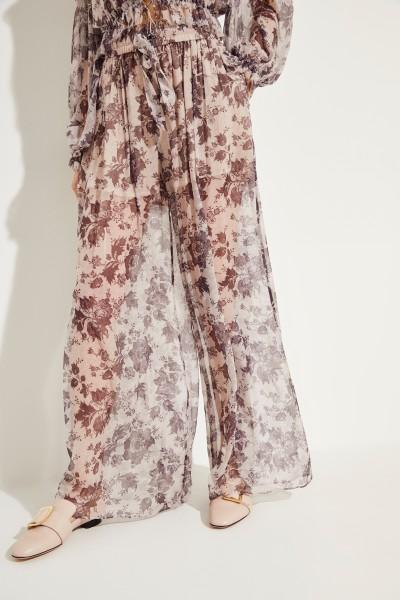 Seidenhose mit floralem Print Multi