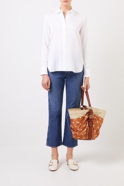 Oversize Seiden-Bluse Weiß