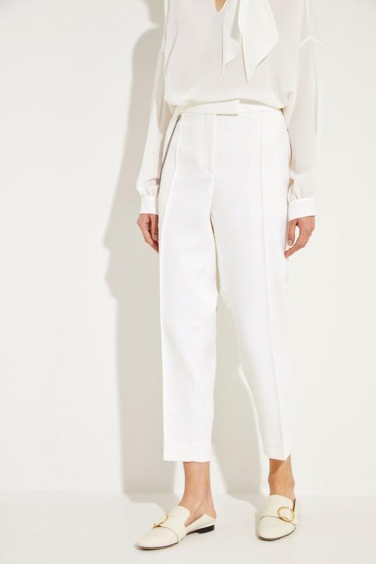Strukturierte Hose mit Ketten-Detail Crèmeweiß
