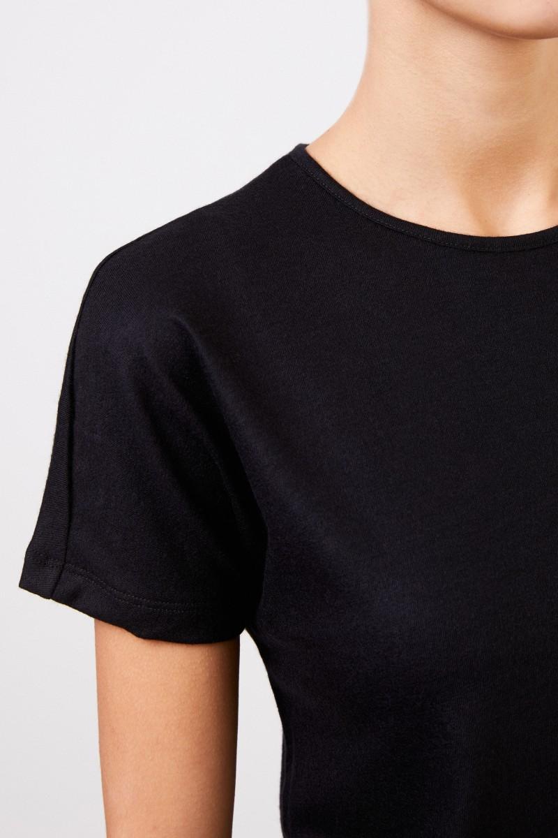 The Row Kurzarm-Cashmere-Shirt 'Landas' Schwarz