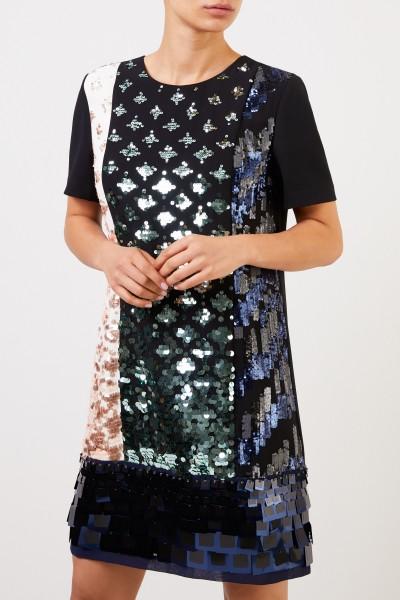 Tory Burch Kurzes Kleid mit Pailletten-Patches Schwarz/Multi
