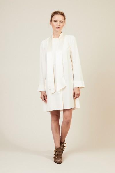 Seiden-Kleid 'Sophia' mit Bindedetail Crèmeweiß