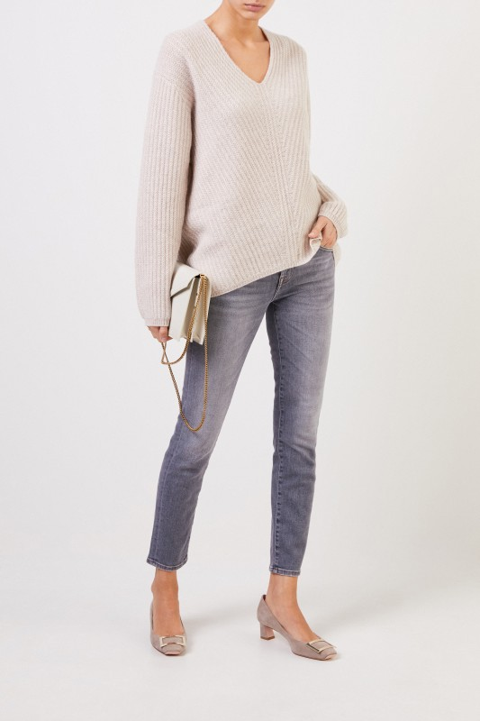 Allude Cashmere-Pullover mit V-Neck Beige