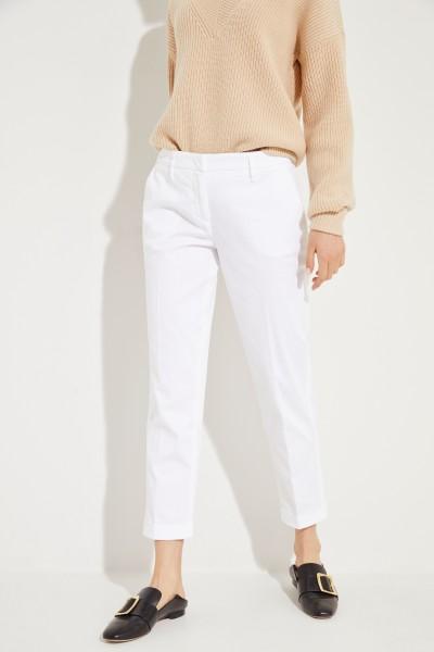 Baumwoll-Hose mit Saumumschlag Weiß