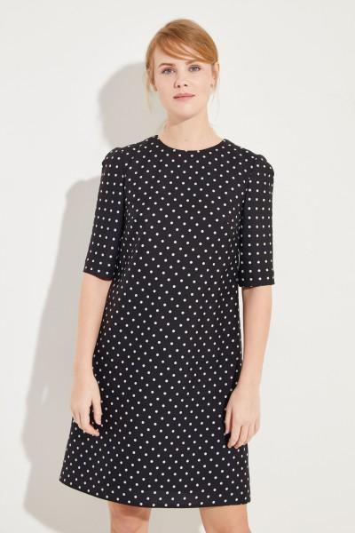 Seidenkleid mit Punktemuster Schwarz/Weiß