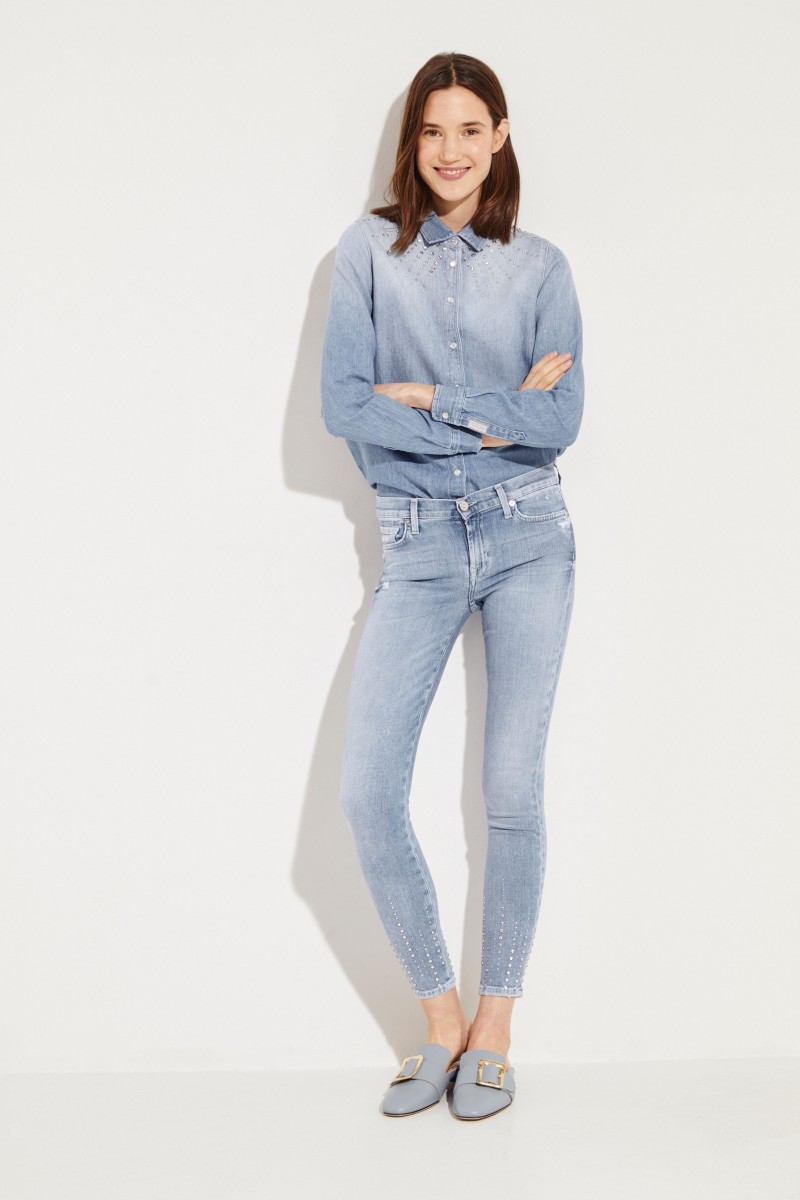 Skinny Jeans 'The Skinny Crop' mit Steinbesatz Blau