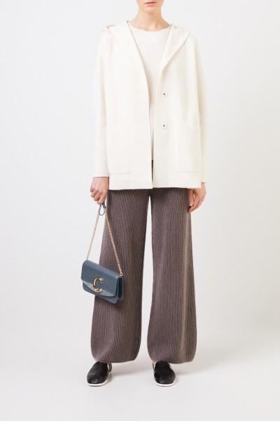 Doubleface cashmere-silk jacket 'Polla' with hood Ecru