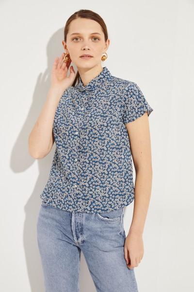 Seiden-Bluse mit floralem Print Blau/Multi