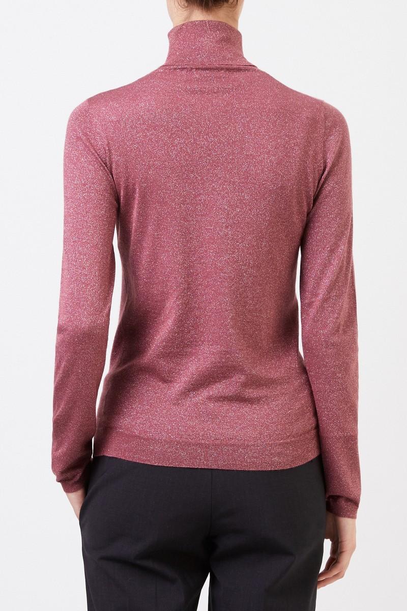 Brunello Cucinelli Cashmere-Seiden-Pullover mit Lurexdetails Beerenton