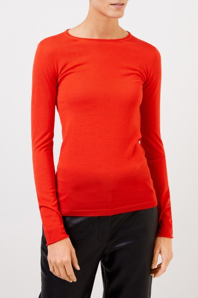 Stella McCartney Wool-Longsleeve witht Detail Gipsy Red