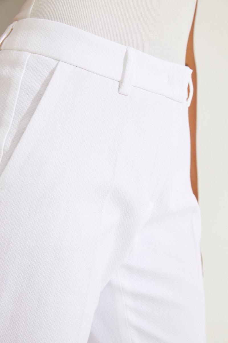 Baumwoll-Hose 'Viola' mit Struktur Weiß