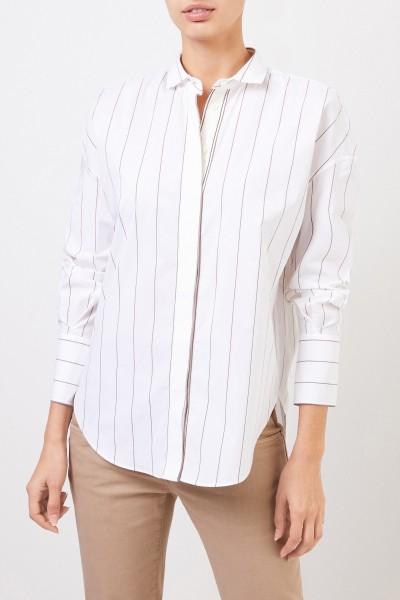 Brunello Cucinelli Baumwoll-Bluse mit Perlenverzierung Weiß/Multi