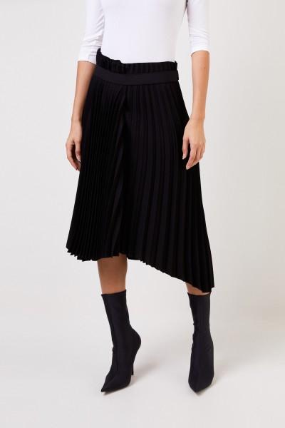 Balenciaga Pleated skirt with logo Black