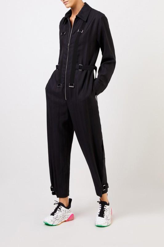 25b4718a3 Wool jumpsuit with pinstripe Black | Stella McCartney | Brands ...