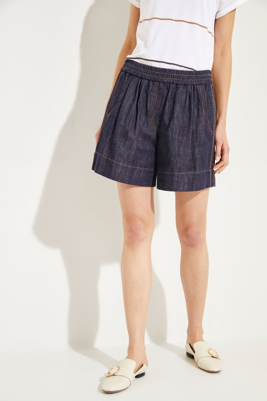 Brunello Cucinelli Jeans-Shorts mit Perlenverzierung Blau