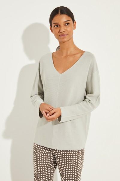 Baumwoll V-Neck Pullover Salbei