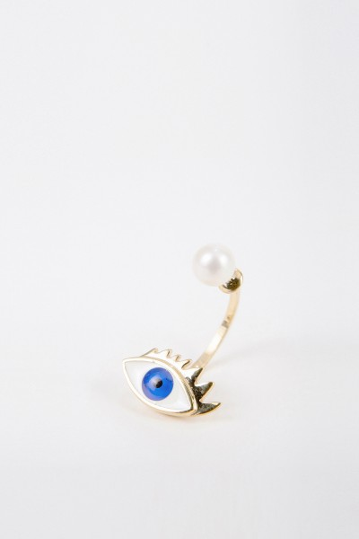 Delfina Delettrez Earring with pearl 'Eye' Gold/Blue