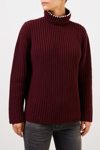 Loewe Cashmere sweater with pearl decoration Bordeaux