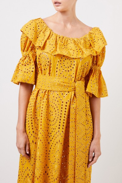 Lisa Marie Fernandez Cotton dress with hole embroidery Yellow