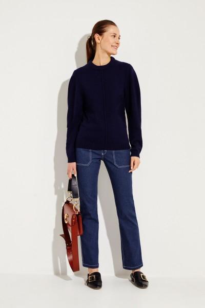 Cashmere-Woll-Pullover Blau