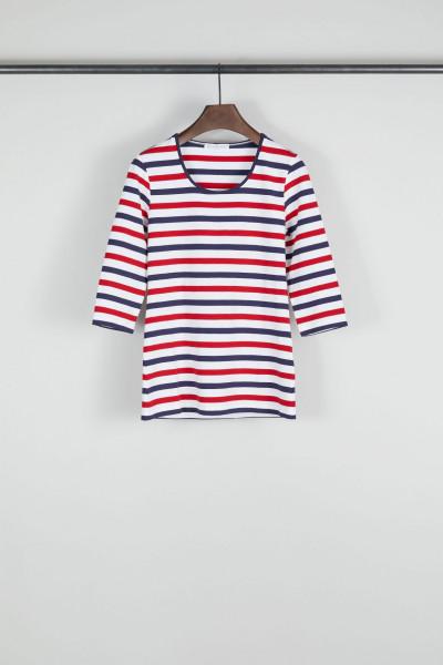 Gestreiftes 3/4 Shirt Rot/Weiss
